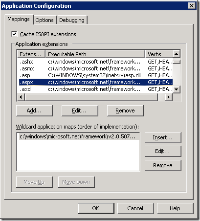 IIS 6 Application Config